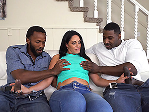 Busty MILF with a huge ass takes on two cocks image 1